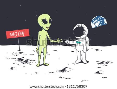 Best friends astronaut and alien play game at rock paper scissors.Vector.