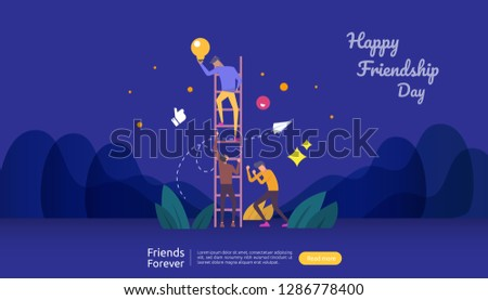 best friends forever concept for celebrating happy friendship day event. vector illustration of social relationship with people character. web landing template, banner, and print media.