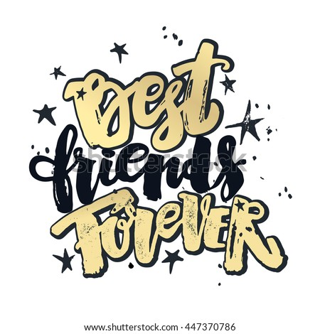 Best friends forever lettering motivation poster ink artistic best friends forever lettering motivation poster ink artistic modern brush calligraphy print handdrawn m4hsunfo