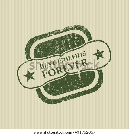Best Friends Forever rubber stamp with grunge texture