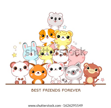 Best friends forever. Square poster with cute animals  - monkey, panda, fox, lemur, pig, leopard, dog, rabbit, cat, koala in kawaii style. Isolated on white background. EPS8 Stockfoto ©