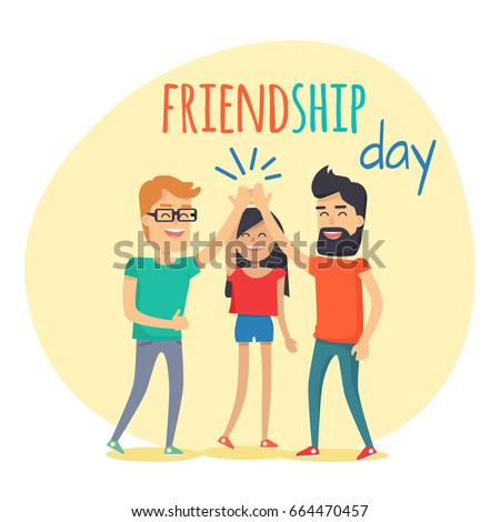 Best friends girl and boys spend fun time, friendship day flat design. Guys and woman dressed in T-shirts clapping hands together above heads. Vector illustration banner in cartoon style