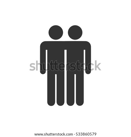 Best friends icon flat. Illustration isolated on white background. Vector grey sign symbol