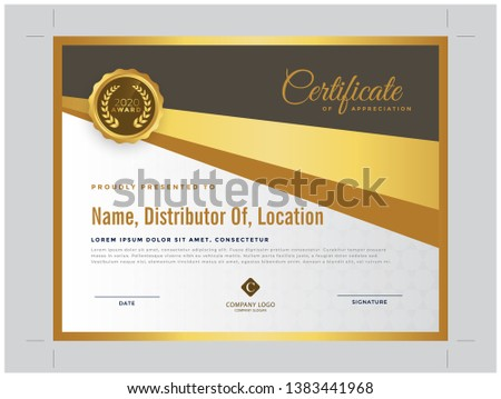 Best golden Modern Certificate of the year