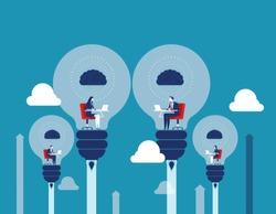 Best ideas. Business people create ideas. Concept business vector illustration.