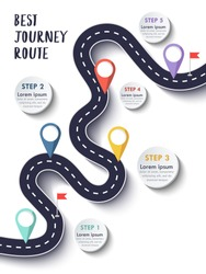 Best Journey Route. Road trip. Business and Journey Infographic Design Template with flags and place for your data. Winding road on a colorful background. Stylish streamers. Vector EPS 10