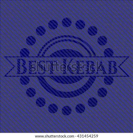 Best Kebab emblem with denim high quality background