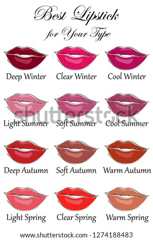 Best lipstick colors for all types of appearance. Seasonal color analysis palette for Winter, Spring, Summer and Autumn