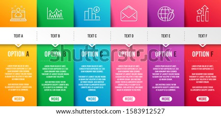 Best manager, Environment day and Investment line icons set. Infographic timeline. Decreasing graph, Mail and Ranking stars signs. Best developer, Safe world, Economic statistics. Crisis chart. Vector