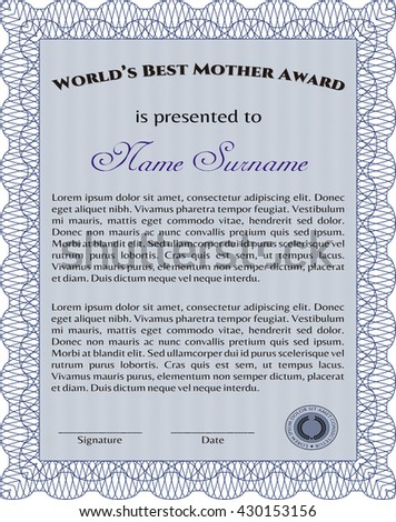 Best Mom Award Template. Vector illustration. Excellent complex design. With guilloche pattern and background.