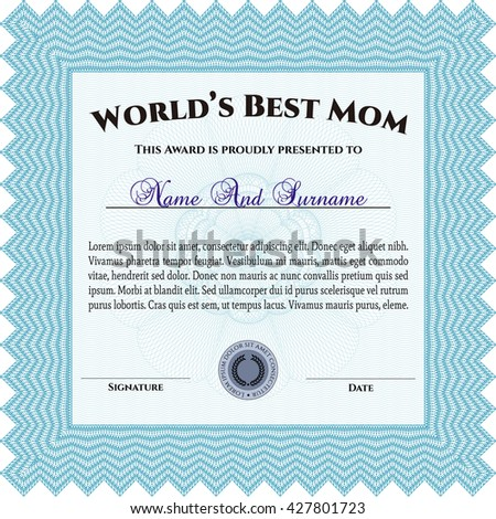 Best Mom Award Template. With guilloche pattern and background. Excellent complex design. Vector illustration.
