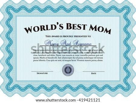 Best Mom Award. With quality background. Superior design. Border, frame.