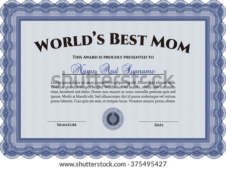 Best Mother Award. Beauty design. Border, frame. With linear background.