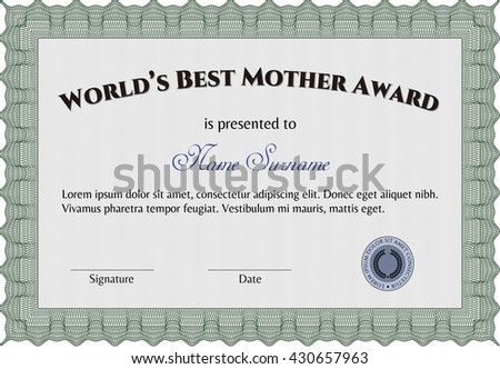 Best Mother Award. Beauty design. With linear background. Border, frame.