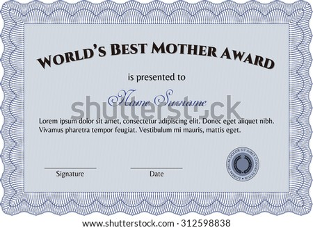 Best Mother Award. Border, frame.With complex linear background. Cordial design.
