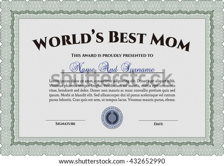 Best Mother Award. With linear background. Beauty design. Border, frame.