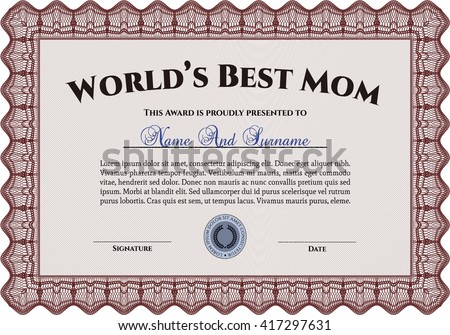 Best Mother Award. With linear background. Border, frame. Beauty design.