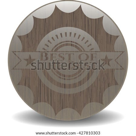 Best of the Best badge with wooden background