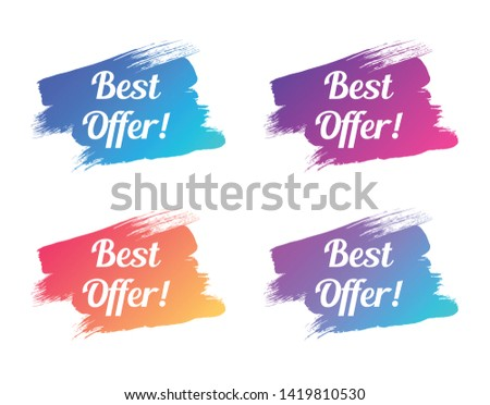 best offer color promo lettering. best offer stock vector illustrations with painted trendy gradient brush strokes for advertising labels, stickers, banners, leaflets, badges, tags, posters