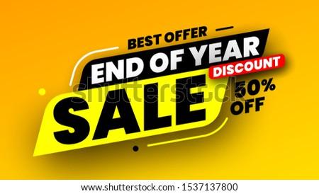 Best offer end of year sale banner, discount 50%. Vector illustration.