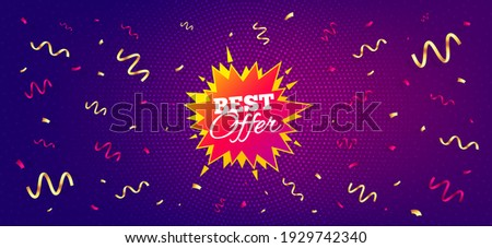 Best offer sticker. Festive confetti background with offer message. Discount banner shape. Sale coupon bubble icon. Best advertising confetti banner. Best offer badge shape. Vector