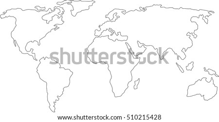 best popular world map outline graphic sketch style, background vector of Asia Europe north south america and africa