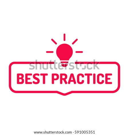 Best practice. Badge with bulb icon. Flat vector illustration on white background.