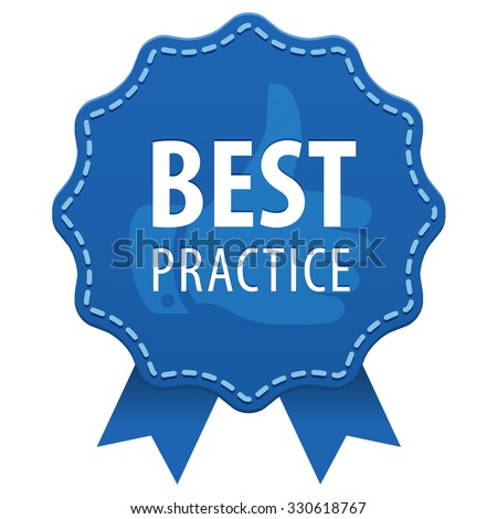 Best Practice blue label with a seam and ribbons icon isolated on white background. Vector illustration