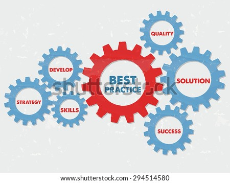 best practice, quality, solution, success, develop, strategy, skills - business professional concept words - red blue text in grunge flat design gear wheels, vector