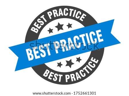 best practice sign. best practice blue-black round ribbon sticker. blue label Stock photo ©