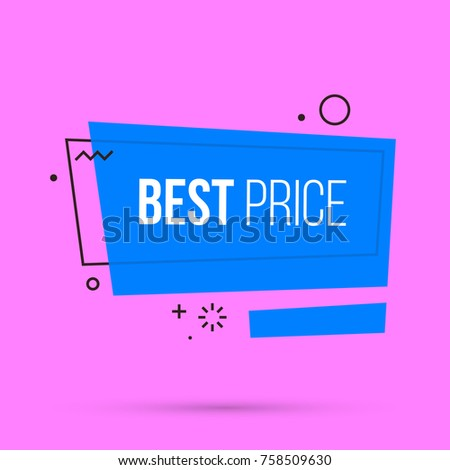 Best price banner template in colorful memphis style on bright pink background