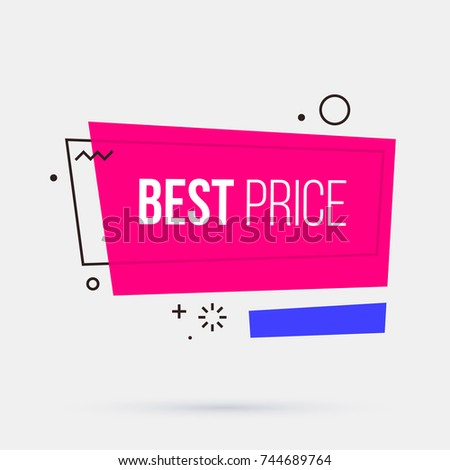 Best price banner template in memphis geometric style on white background