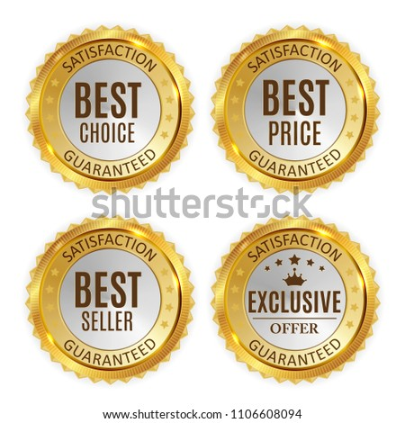 Best Price, Seller, Choice and Exclusive offer Golden Shiny Label Sign Collection Set. Vector Illustration EPS10