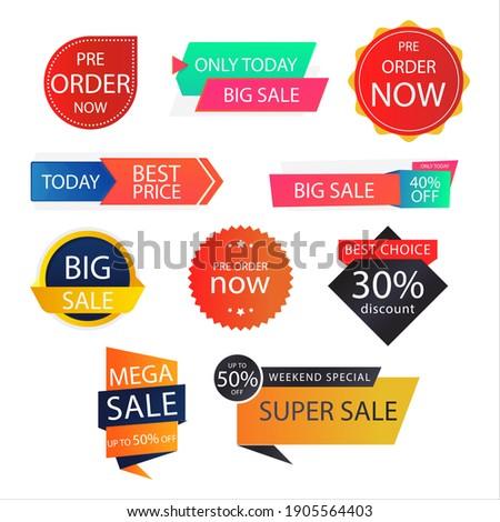 Best Price Super Sale Mega Sale Weekend Sale Pre Order Now Big Sale Discount Badges and Emblems Flat Vector