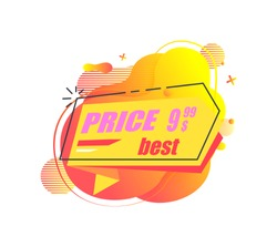 Best price vector, isolated banner with promotion of shop, shopping discounts for customers and clients. Cheap cost on goods of store, advertising. Stiker for market sale