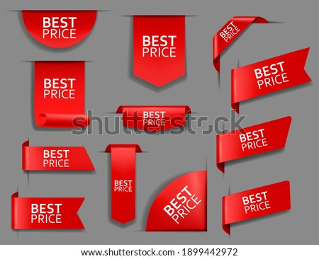Best price web tag, banner and corners. Sale promotion, shopping discounts offer or store goods price tags templates. Red ribbons, glossy fabric bookmarks, stickers for web page 3d realistic vector