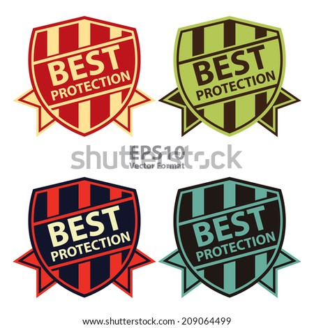 Best Protection Vintage Shield, Badge, Icon Isolated on White, Vector Format