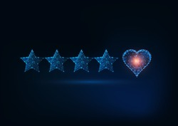 Best quality excellent customer service concept. Futuristic glowing low polygonal five stars rating with love heart isolated on dark blue background. Modern wire frame design vector illustration.