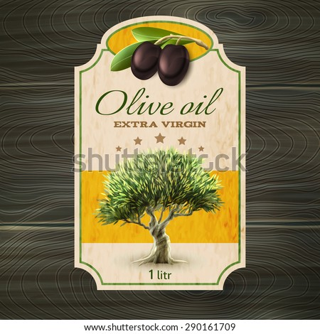 Best quality extra virgin olive oil trade mark bottle or can label with tree abstract vector illustration