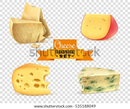 Best quality special cheeses realistic images composition with edam maasdam parmesan and dorblu transparent background vector illustration