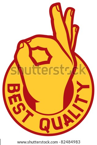 best quality symbol - man hand showing ok (label, sign, stamp)