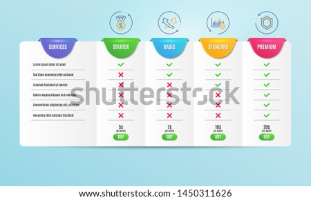 Best rank, Intersection arrows and Operational excellence icons simple set. Comparison table. Security sign. Success medal, Exchange, Corporate business. Protection shield. Business set. Vector