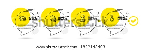 Best result, Arena stadium and Winner cup line icons set. Timeline infograph speech bubbles. Medal sign. Timer award, Competition building, Award cup. Winner. Sports set. Vector