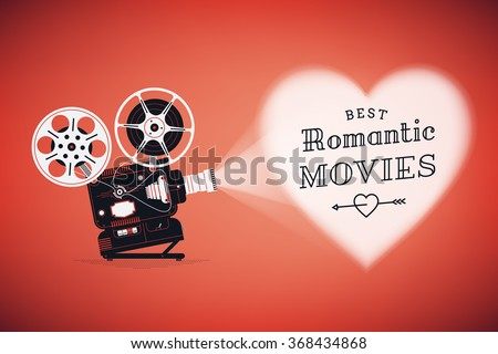 Постер, плакат: Best romantic movies concept, холст на подрамнике