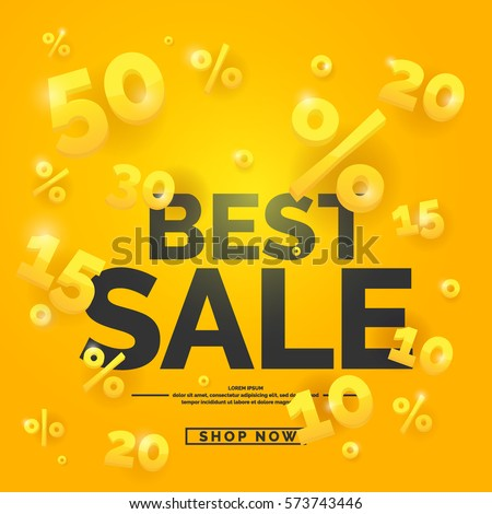 Best sale banner. Original poster for discount. Bright abstract background with text. Vector illustration.