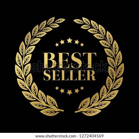 Best Seller Gold sign with laurel vector ストックフォト ©