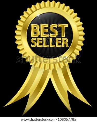 Best seller golden label with golden ribbons, vector illustration