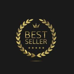 Best Seller label. Golden wreath laurel, Vector illustration