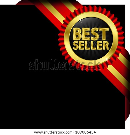 Best seller label with golden ribbons, vector illustration - stock vector
