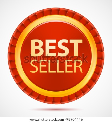 Best seller, red label, vector illustration